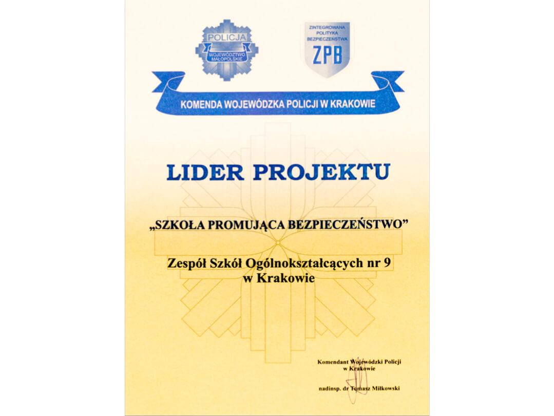 """Lider projektu """"Szkoła promująca bezpieczeństwo"""""""